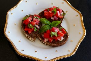 Tomato Bruschetta with fresh Russian pumpernickel bread.